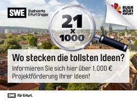 21x1000 Euro für Erfurter Projekte